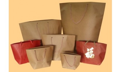 Ready-made Traditional Style Brown Kraft Paper Bags with Red/White Twisted Cotton String Handles