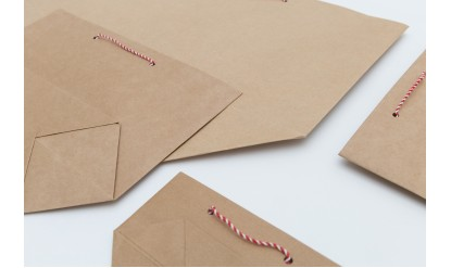 Ready-made Traditional Style Paper Brown Kraft Paper Bags with Red/White Twisted Cotton String Handles